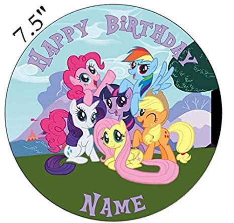 MY LITTLE PONY ROUND EDIBLE BIRTHDAY CAKE TOPPER DECORATION PERSONALISED