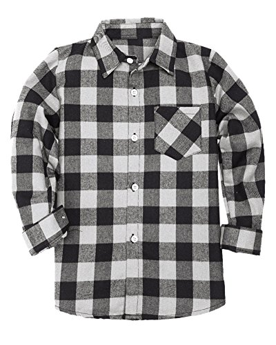 Flannel Gingham (SANGTREE BOY Little Boys Cotton Long Sleeves Gingham Plaid Flannel Shirt Tops, White Black, Age 9T-10T (9-10 Years) = Tag 150)