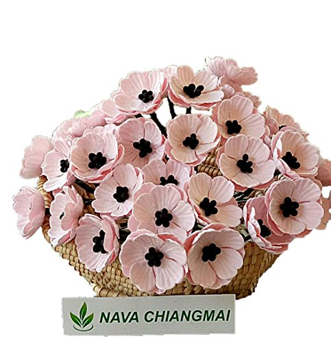 NAVA CHIANGMAI Poppies Mulberry Paper Flower,Poppy Flower for Scrapbooking Wedding Doll House Supplies Card,DIY Crafts,Artificial Mulberry Paper Flowers Wedding Home Decoration. - Mulberry Poppy