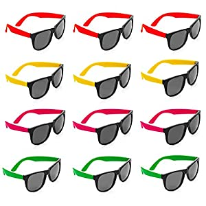 Neon Sunglasses - 12 Pack Green, Orange, Yellow And Pink, Gift, Party Favors, Toys, Goody Bag Favors, Fun For Kids