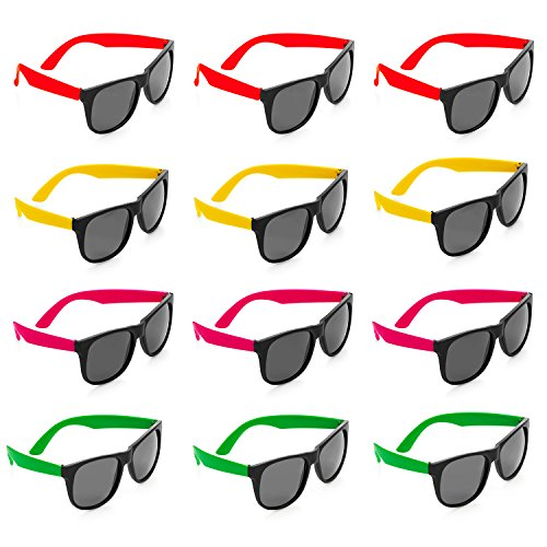 Adult Go Green Girl - Neon Sunglasses - 12 Pack Green, Orange, Yellow And Pink, Gift, Party Favors, Toys, Goody Bag Favors, Fun For Kids