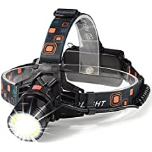 Led Headlamp -Unique COB&CREE Technology, 3 Mode 9oz Lightweight Headlight Rechargeable/Zoomable/IPX4 Water-resistant, 3.5H Quick Charge with 8H Long Battery Life (black)