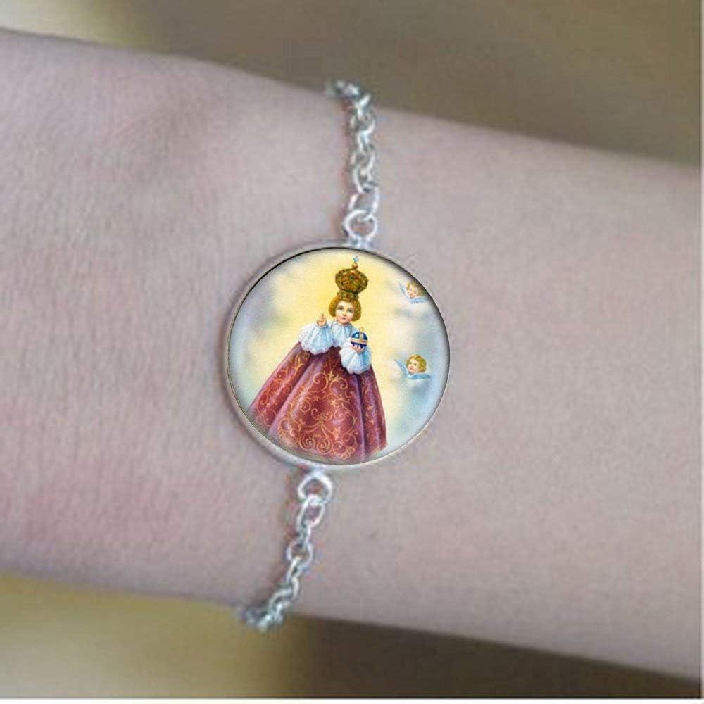 Pulsera católica de Jesús de Praga. Medalla cristiana católica. Charm Jewelry - Joyería de cristal para fotos