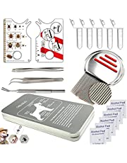Tick Removal Tool Flea Tick Remover Card Kit for Dog Cat and Humans,Include Stainless Steel Tick Tweezers,Tick Remover Identification Card and Lice Combs for Tick Lice Flea and Nits