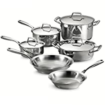 Tramontina 80101/202DS Gourmet Prima Stainless Steel, Induction-Ready, Impact Bonded, Tri-Ply Base Cookware Set, 10 Piece, Made in Brazil