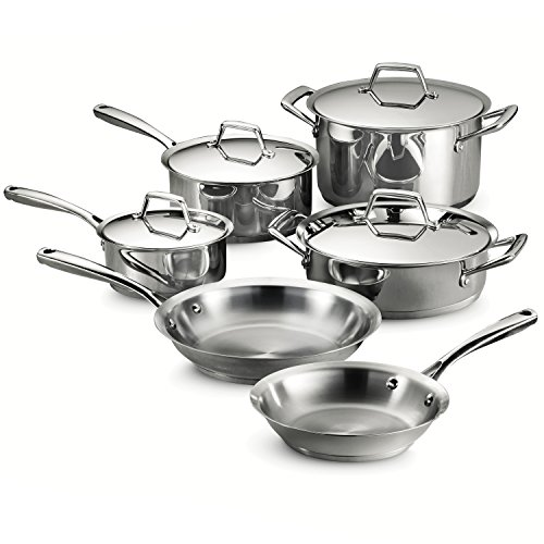 Tramontina 80101/202DS Gourmet Prima Stainless Steel, Induction-Ready, Impact Bonded, Tri-Ply Base Cookware Set, 10 Piece, Made in Brazil from Tramontina