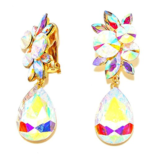 Big Ab Cz Crystal Clip-on Gold Earrings Pageant Drag Queen Wedding Bridal Evening Show Girl Bride (Queen Jewelry Drag)
