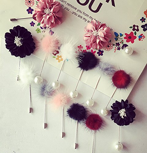 ic temperament long mink hair ball pin brooch Korean version of the long plush flower pin collar pin collar flower Suit accessories (Long Mink Hair Collar)