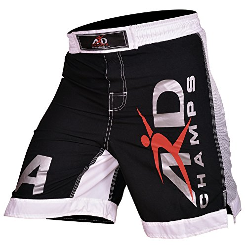 ARD New Extreme MMA Fight Shorts UFC Cage Fight Grappling Muay Thai Boxing Black (Split Seam Fight Shorts)