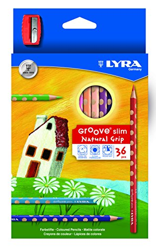LYRA Groove Slim Child-Grip Triangle Colored Pencils, triangular pencils, school supplies coloring, Includes Sharpener, Set of 36 colored