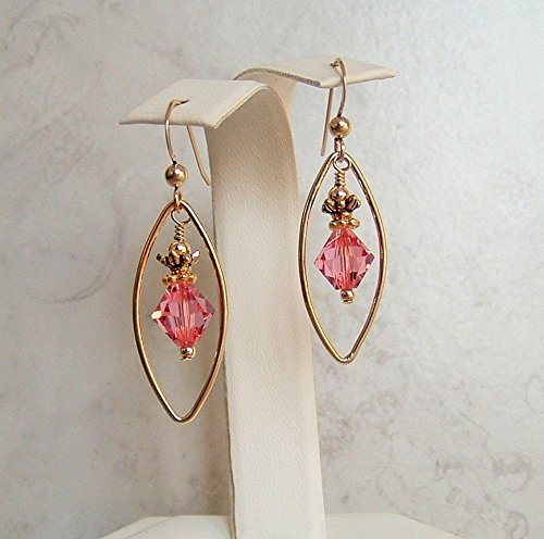 Rose Pink Bicone Swarovski Elements Crystal Marquise Oval Framed 14K Gold Filled ()