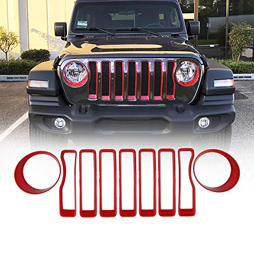 Seven Sparta Front Grill Inserts Kit for JL with Headlight Turn Light Cover Trim & Grille Inserts for 2018 Jeep Wrangler JL/JLU Sport and Sports (Red)