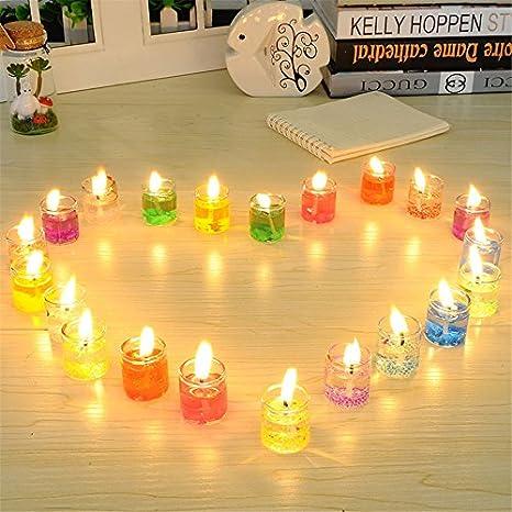24pcs llama velas tarros de cristal para velas amarillo vela ...
