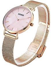 Read Damen Quartz Uhr,Ultra Dünne Analoge Quarz Edelstahl Armbanduhr,Einfache Casual Armbanduhr for Frauen R6005…