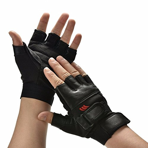 1Pair Men Black PU Leather Weight Lifting Gym Gloves Workout Wrist Wrap Sports Exercise Training Fitness - King Kong Gloves