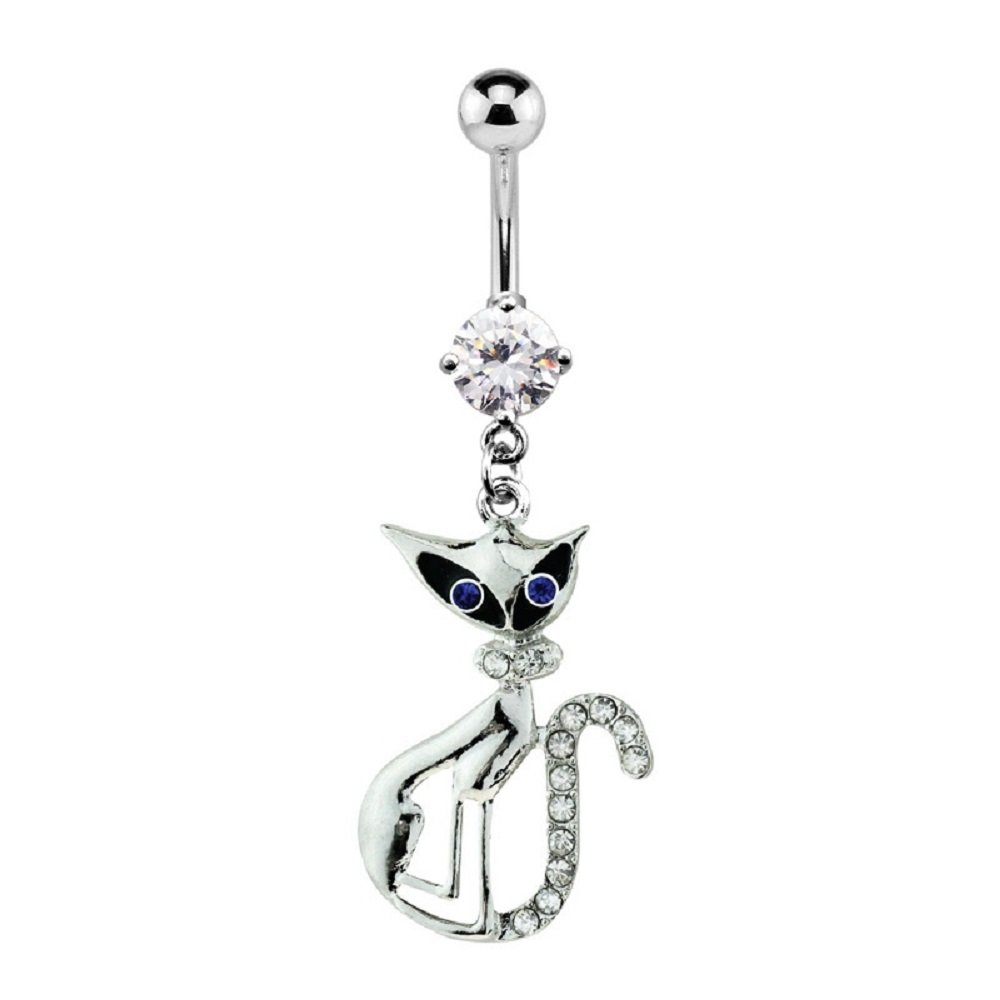 Blue Eye Gem Paved Cat 316L Surgical Steel Prong Set Freedom Fashion Navel Ring Sold Individually