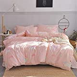 VClife Girl Duvet Cover Sets, Cartoon Twin Bedding Sets -100% Cotton Pink White Stripe Bedding Comforter Cover Sets for Kids Teen- Cute Unicorn and Geometric Pattern Bedding Collections, Twin