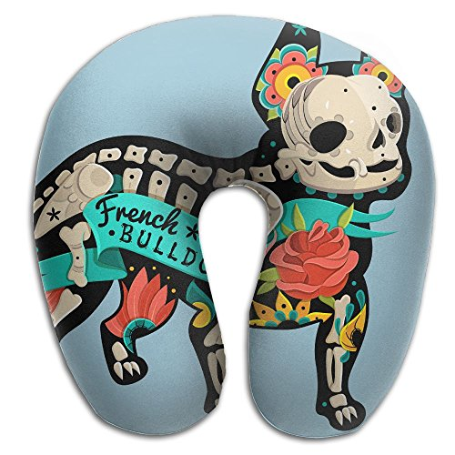 Multifunctional Neck Pillow Bulldog Skeleton U-Shaped Soft Pillows Convertible Portable For Reading,Sleeping On Airplanes,Train,Car,and -