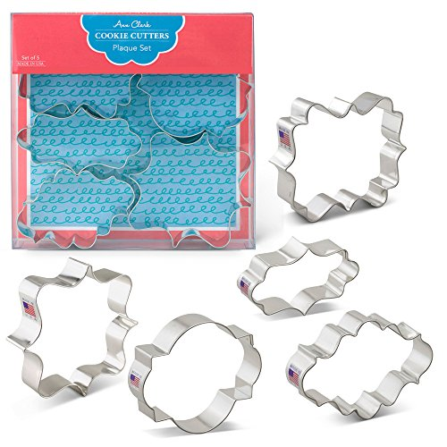 - Plaque/Frame Cookie Cutters - 5 Piece Boxed Set - Oval, Long Fancy, Square, LilaLoa's Square, Photo - Ann Clark - US Tin Plated Steel