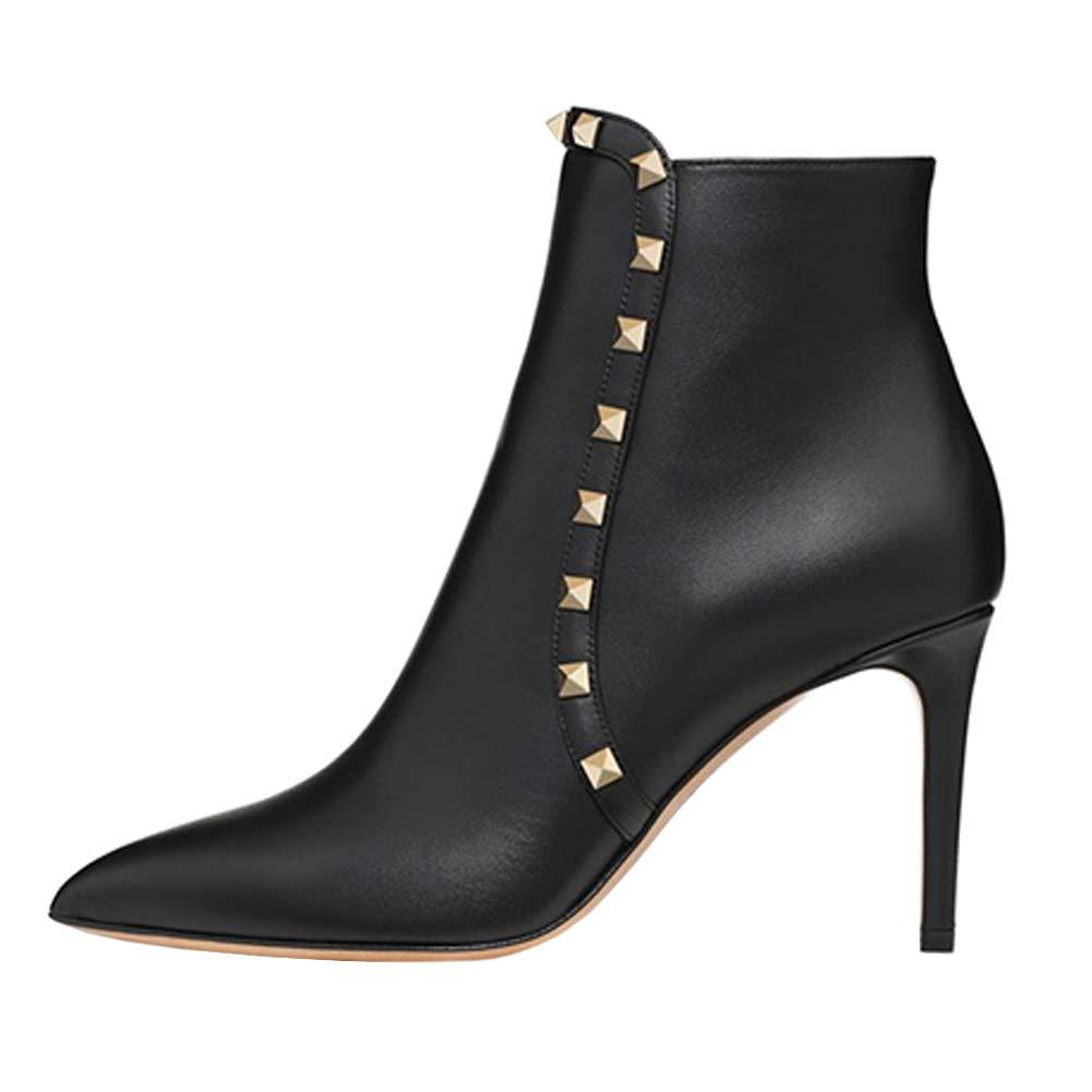 EKS Damen High Heels Ankle Stiefel Nieten Nieten Schuhe Spitz Schuhe Ankle Stiefelies