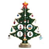Tinksky Miniature Christmas Ornaments Wooden Mini Christmas Tree Desktop Tabletop Decoration Arts and Crafts Centerpiece Kids Children Gift Teaching Reward Home Party Wedding Decor 30CM (Green)
