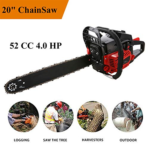 Aceshin 20″ 52CC 4.0 HP Gas Powered Chain Saw 2 Stroke Handed Petrol Chainsaw (US Stock)