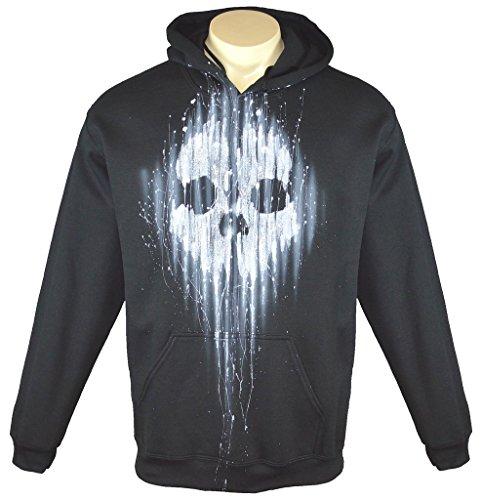 Exotic Gamer Gear Men's Call of Duty Ghosts Airbrushed Tribute Hoodie + Gamertag on Sleeve, Medium, Black