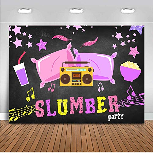 COMOPHOTO Girl Sleepover Party Photo Background Design Slumber Parites Banner for Decoration Pillow Radio Birthday Theme Backdrop 7x5ft Fabric