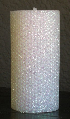 Gold Rush 80 Hour-6 Inch Natural Beeswax Hybrid Pillar Glitter Candle, White Lotus Color