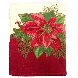 Lenox Poinsettia Tartan Printed Bath Towel