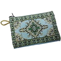 Green Design Rosary Icon Pouch Tapestry Prayer Keepsake Case Holy Land 5.7