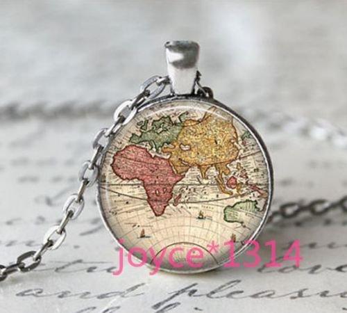 Vintage Glass Cabochons - Vintage World Map Cabochon Tibetan silver Glass Chain Pendant Necklace#1182