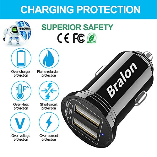 USB Car Charger[2-Pack], Bralon 18W 3 4A Mini 2 USB Fast Car Charger  Adapter Compatible with IPhone Xs Max X 8 7 6  5,HTC,LG,Moto,BlackBerry,Galaxy