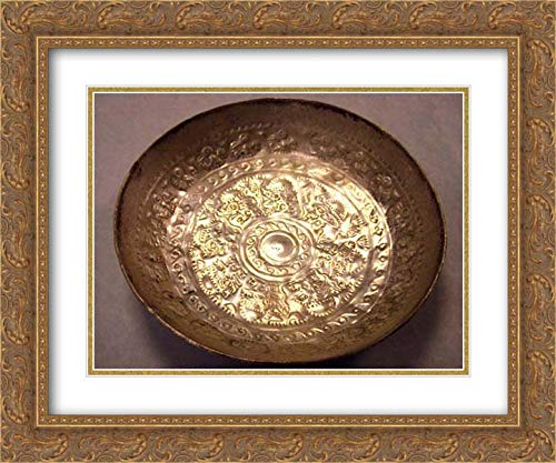 Chimu Culture - 24x20 Gold Ornate Frame and Double Matted Museum Art Print - Pair of Bowls with Repousse Work