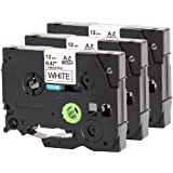 3x Casete de Cinta compatible Brother TZe-231 laminada estandár - negro sobre blanco - Roll 12mm x 8m