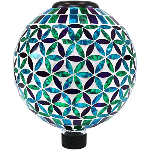 - Sunnydaze Glass Mosaic Gazing Globe with Solar Light, Blue Cool Blooms Design, Garden and Landscape Decor, 10-Inch