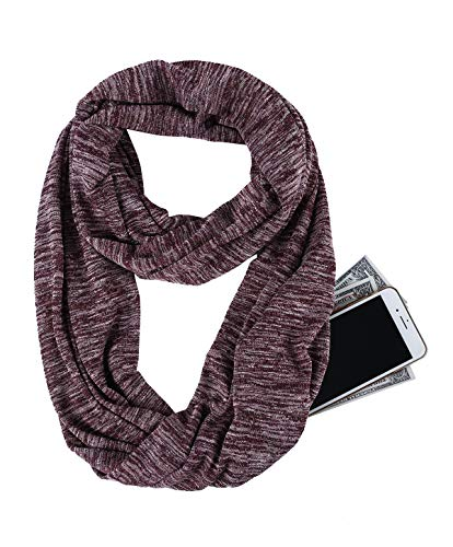 USAstyle Zipper Hidden Pocket Infinity Scarf -Red Women Men Midweight Lightweith Thin Light Plain Solid Jersey Security Travel Passport Purse Fashion Infinite Scarfs For Spring Winter