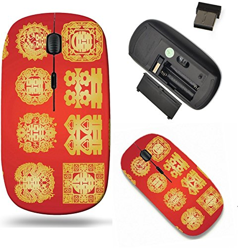 Liili Wireless Mouse Travel 2.4G Wireless Mice with USB Receiver, Click with 1000 DPI for notebook, pc, laptop, computer, mac book oriental double happiness Photo 4546009