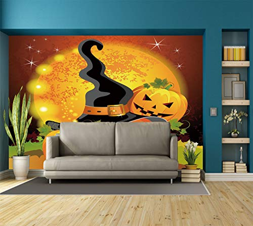 Large Wall Mural Sticker [ Halloween,Witches Hat Spooky Pumpkins Magical Night Autumn Nature Full Moon,Light Orange Green Black ] Self-adhesive Vinyl Wallpaper / Removable Modern Decorating Wall Art for $<!--$238.99-->