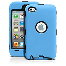 iPod Touch 4th Case, MagicMobile® Premium Heavy Duty Hybrid Shockproof Armor Cover Light Blue Silicone Layer and Black Hard Plastic Shell with MagicMobile Charm