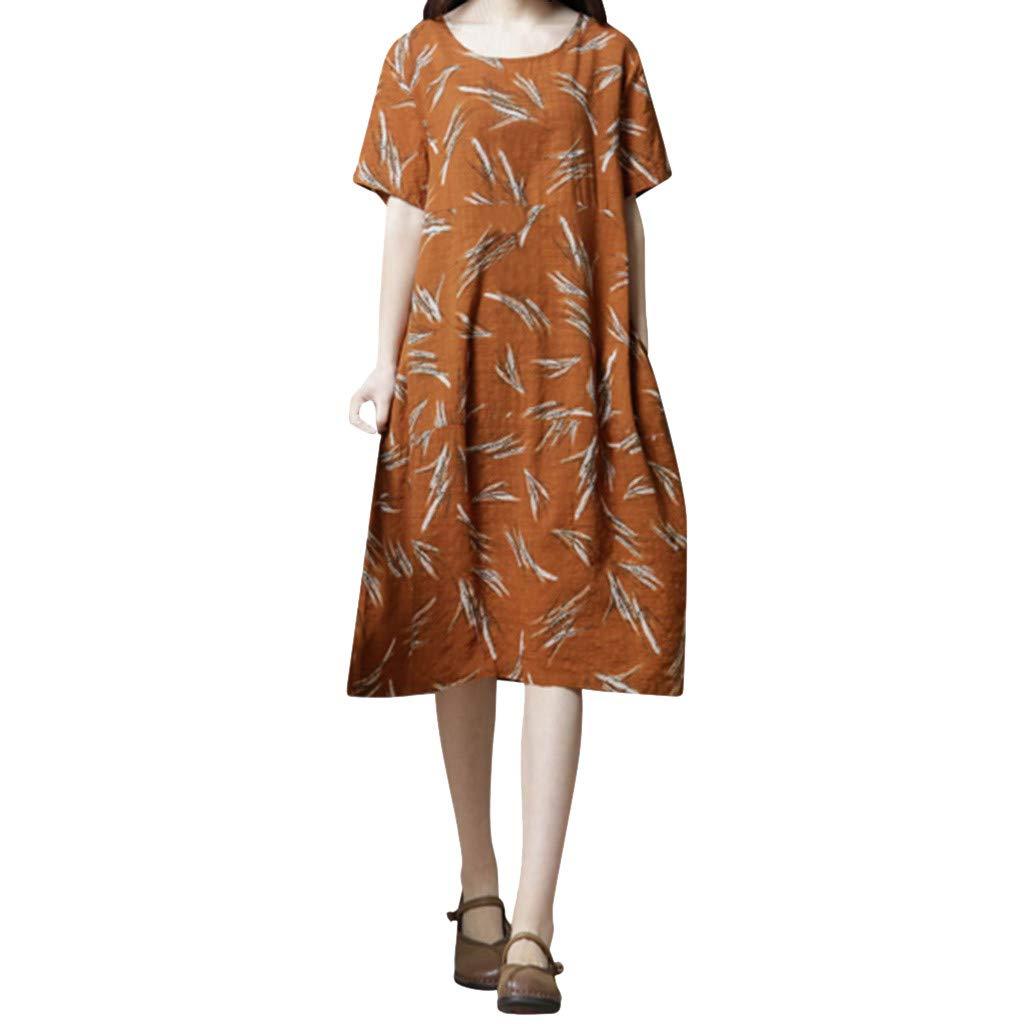 Women Casual Round Neck Short Sleeve Dress, Dianli Loose Print Dress Female Floral Print Linen Dress, O-Neck Short Sleeve Beach Dress
