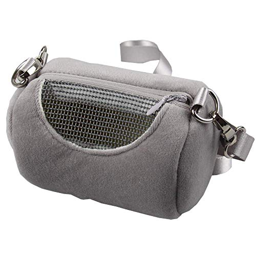 (ANIAC Pet Outgoing Bags with Adjustble Shoulder Strap Breathable Portable Travel Handbags Backpack for Hamster Hedgehog Sugar Gliders Gerbils Squirrels Mice Rats and Small Animals (Small, Grey))