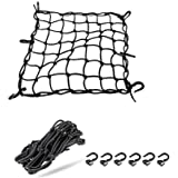 "ZMFLL 15""x15"" Motorcycle Cargo Net Bungee featuring 6 Adjustable Hooks & Tight 2''x2'' Mesh Black (Black hook)"