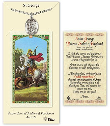 Pewter Saint George Medal with Laminated Holy Prayer Card (George Medal)
