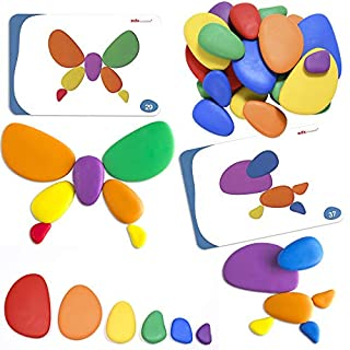 Edx Education Rainbow Pebbles - In Home Learning Toy for Early Math - Sorting and Stacking Stones