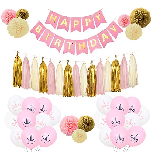 AIYUE Birthday Decorations,Pink and Gold Happy Birthday Decorations for Women,Happy Birthday Banner,Tassels,Balloons,Paper Garland for 1 Birthday Decorations,Birthday Party,Girls Birthday
