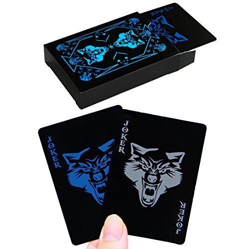 PojoTech Waterproof PVC Playing Cards Set Pure Color Black Poker Card Classic Magic Tricks Tool,54pcs/Deck (Wolf)