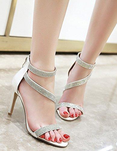 White Sandals Aisun Zipper High Rhinestones Stilettos Women's New waH0wqR