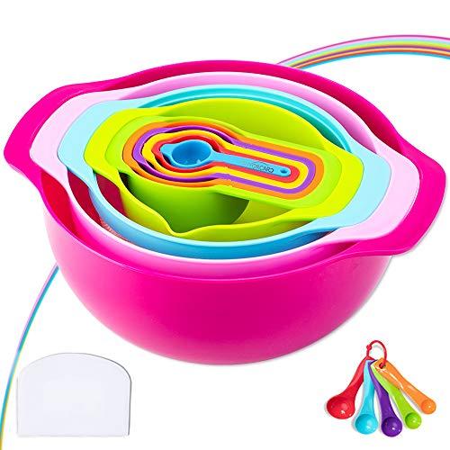 Mixing Bowl Set – Colorful Kitchen Bowls Colander Mesh Strainer Plastic Nesting Bowls – with Easy Pour Spout, Colorful…