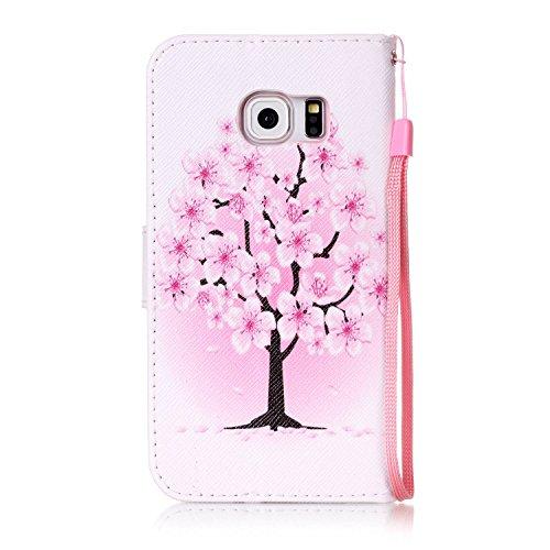 Para Smartphone Samsung Galaxy S6Edge móvil, Funda de piel para Samsung Galaxy S6Edge Flip Cover Funda Libro Con Tarjetero Función Atril magnético + Polvo Conector blanco 2 1